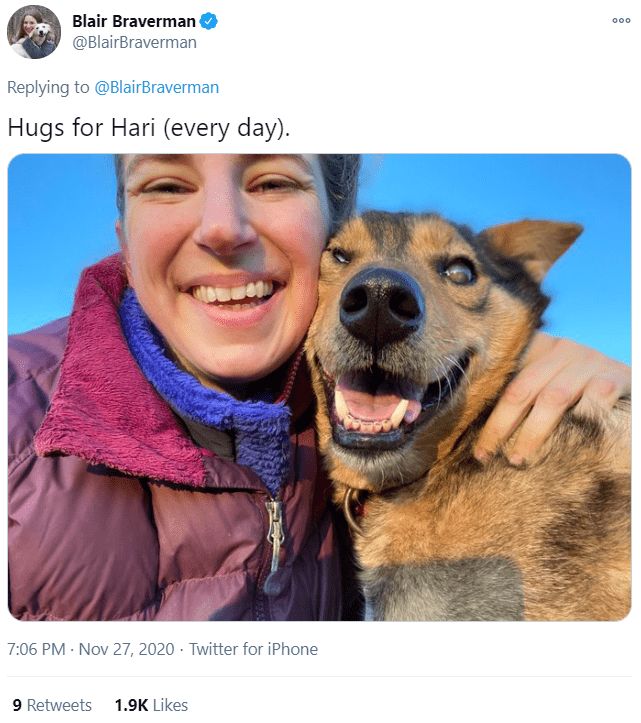 Dog - Blair Braverman @BlairBraverman 00. Replying to @BlairBraverman Hugs for Hari (every day). 7:06 PM · Nov 27, 2020 · Twitter for iPhone 9 Retweets 1.9K Likes
