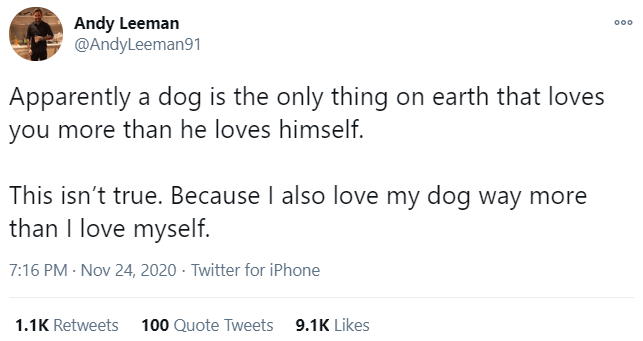 Text - Andy Leeman @AndyLeeman91 000 Apparently a dog is the only thing on earth that loves you more than he loves himself. This isn't true. Because I also love my dog way more than I love myself. 7:16 PM · Nov 24, 2020 · Twitter for iPhone 1.1K Retweets 100 Quote Tweets 9.1K Likes