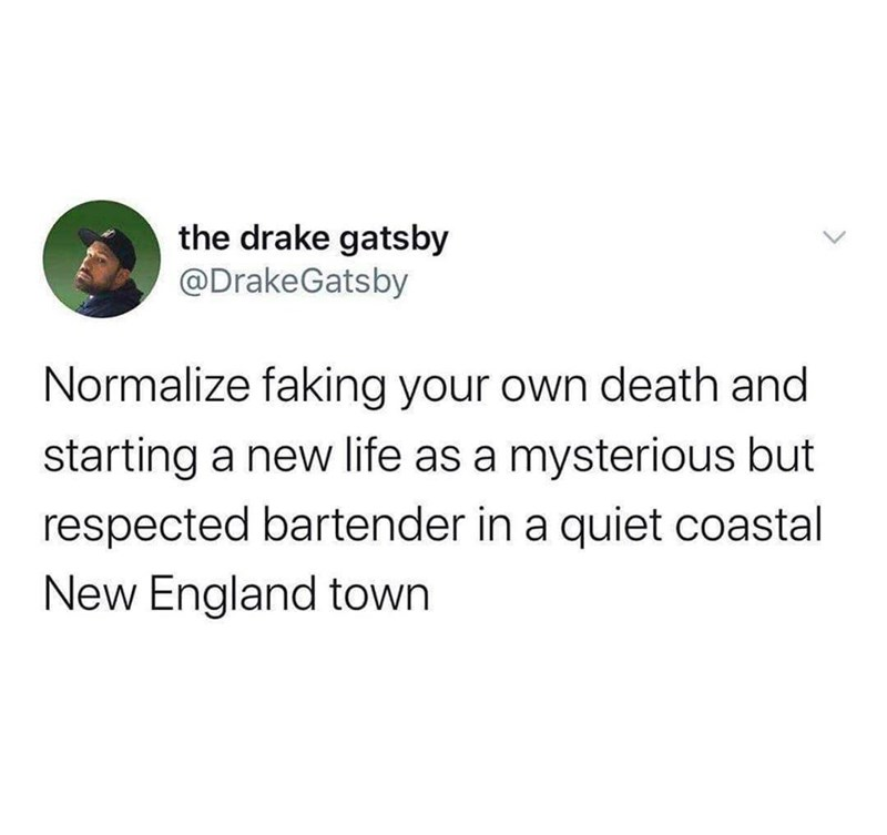 Text - the drake gatsby @DrakeGatsby Normalize faking your own death and starting a new life as a mysterious but respected bartender in a quiet coastal New England town