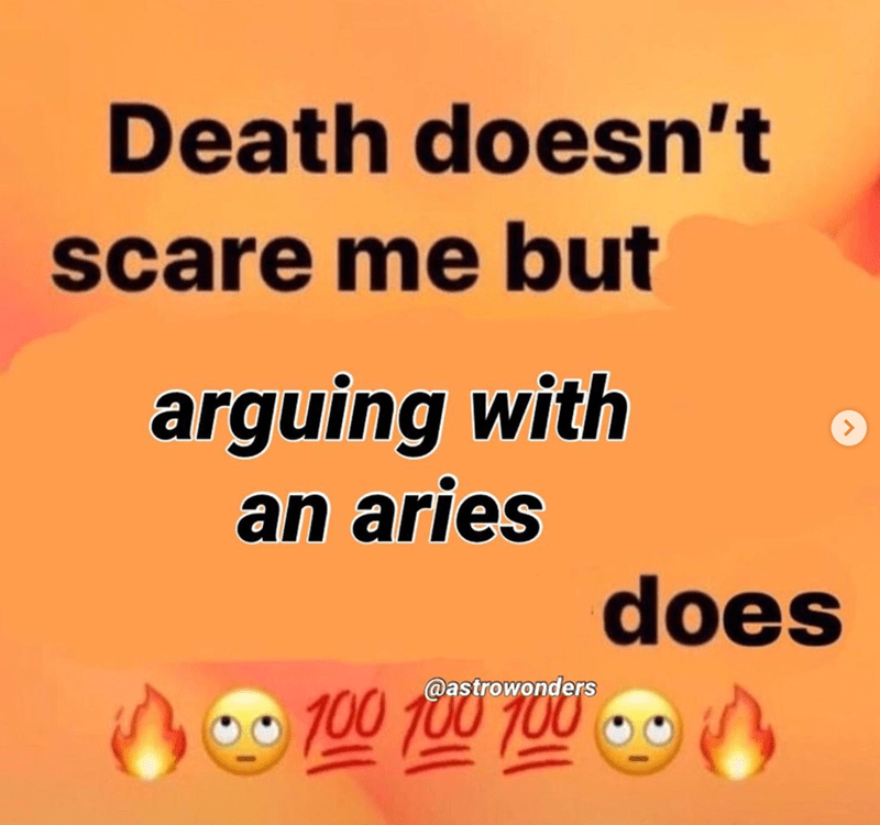 Text - Death doesn't scare me but arguing with an aries does 100 100 100 @astrowonders 0 - -