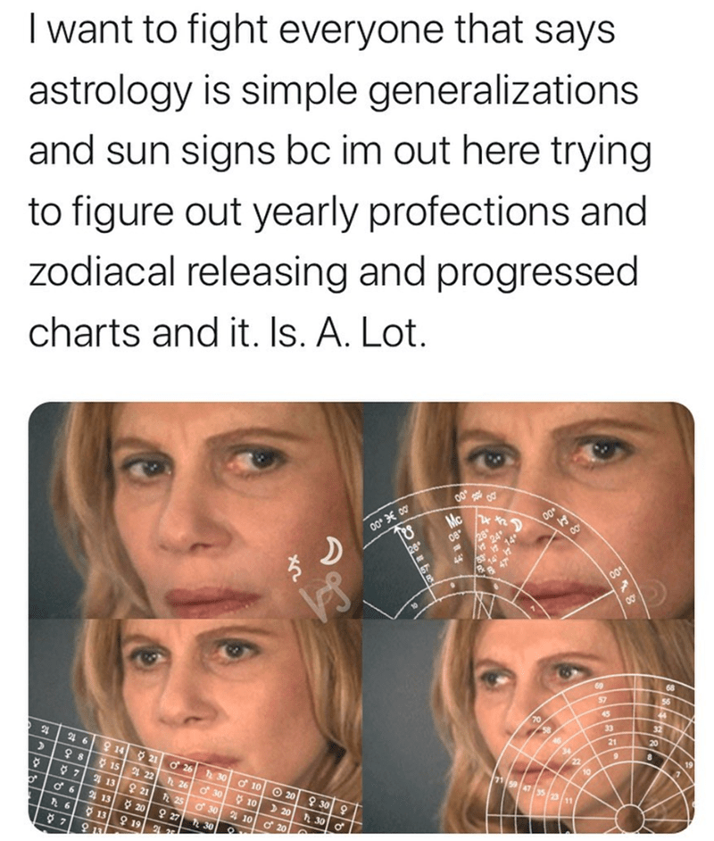 Face - I want to fight everyone that says astrology is simple generalizations and sun signs bc im out here trying to figure out yearly profections and zodiacal releasing and progressed charts and it. Is. A. Lot. Mc 00° E 00 08 26 57 68 69 57 32 20 33 21 24 6 9 14 21 ở 26 10 41 55 2 11 30 15 4 22 h 26 ở 30 O 7 4 13 O 10 O 20 9 21 25 ở 30 4 10 d 20 930 오 h 30 o 2 13 O 10 ) 20 O 20 6 13 9 19 21 9 27 30 79 13