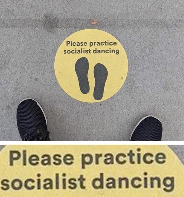 Text - Please practice socialist dancing Please practice socialist dancing