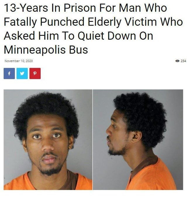 Hair - 13-Years In Prison For Man Who Fatally Punched Elderly Victim Who Asked Him To Quiet Down On Minneapolis Bus November 10, 2020 O 234 f