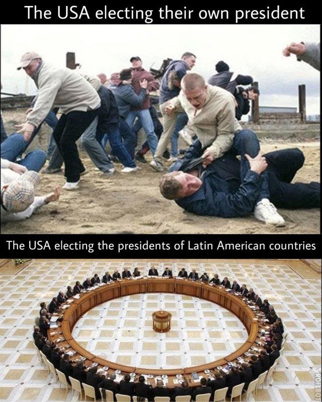 Cuisine - The USA electing their own president The USA electing the presidents of Latin American countries ROFLBOT