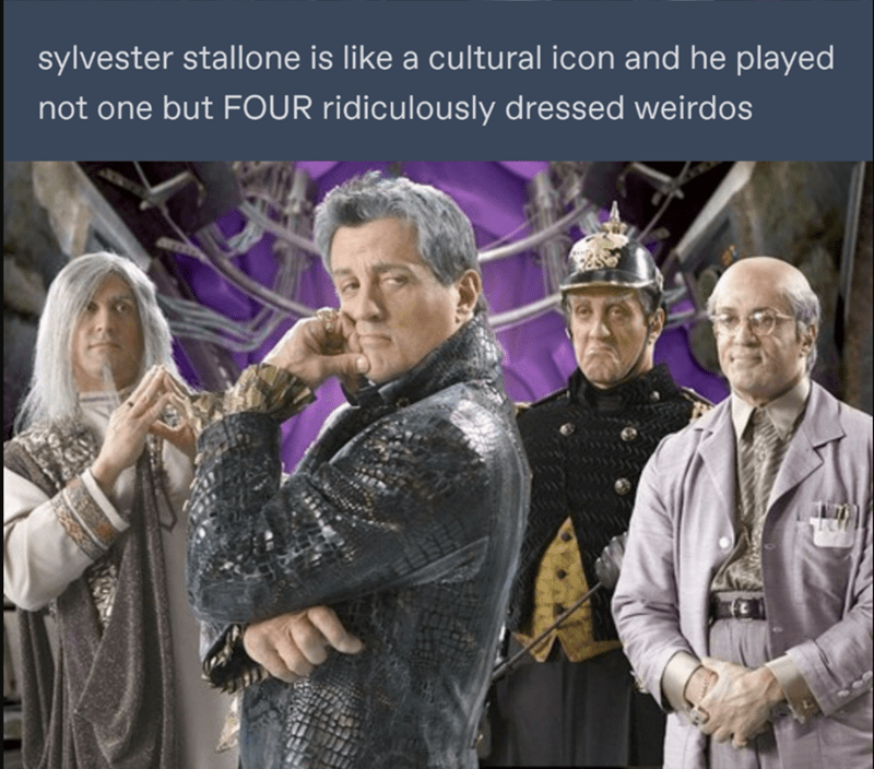 Photo caption - sylvester stallone is like a cultural icon and he played not one but FOUR ridiculously dressed weirdos