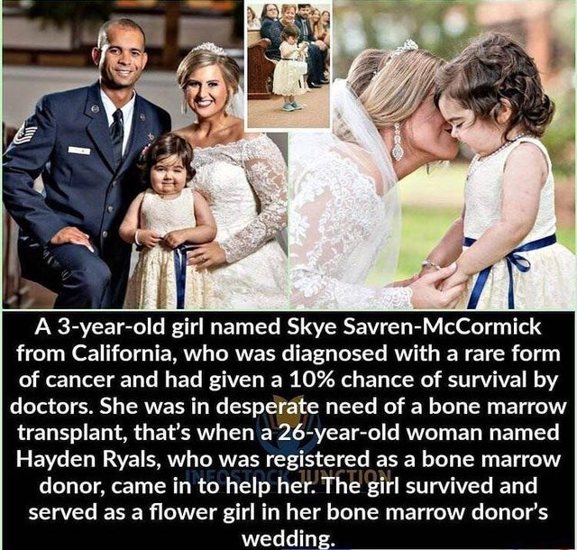 People - A 3-year-old girl named Skye Savren-McCormick from California, who was diagnosed with a rare form of cancer and had given a 10% chance of survival by doctors. She was in desperate need of a bone marrow transplant, that's when a 26-year-old woman named Hayden Ryals, who was registered as a bone marrow donor, came in to help her. The girl survived and served as a flower girl in her bone marrow donor's wedding.