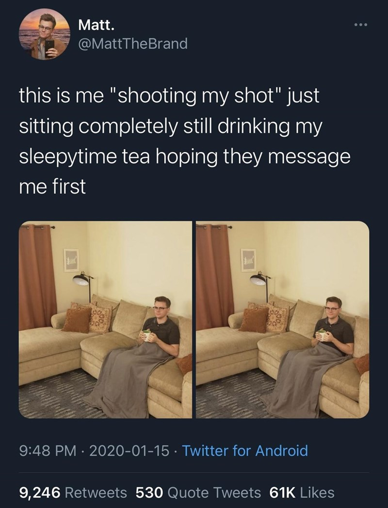 """Text - Matt. @MattTheBrand this is me """"shooting my shot"""" just sitting completely still drinking my sleepytime tea hoping they message me first 9:48 PM · 2020-01-15 · Twitter for Android 9,246 Retweets 530 Quote Tweets 61K Likes"""