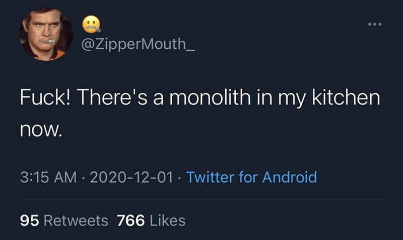 Text - @ZipperMouth_ Fuck! There's a monolith in my kitchen now. 3:15 AM · 2020-12-01 · Twitter for Android 95 Retweets 766 Likes