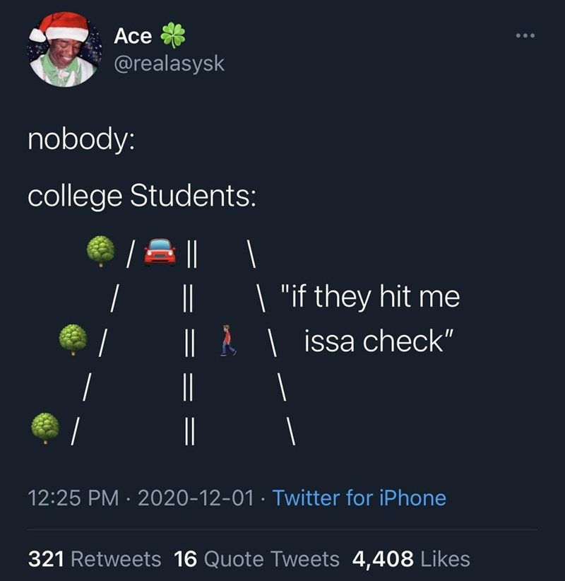 """Text - Ace @realasysk nobody: college Students:    """"if they hit me  L Å   issa check""""     12:25 PM · 2020-12-01 · Twitter for iPhone 321 Retweets 16 Quote Tweets 4,408 Likes"""