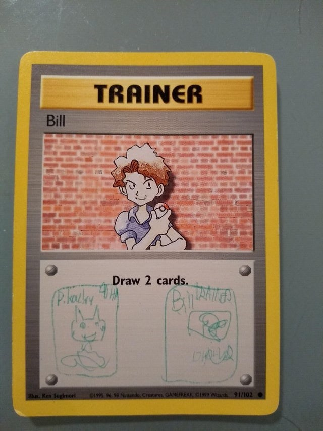 Text - TRAINER Bill Draw 2 cards. (P.lacky, Blus. Ken Sugimori 01995, 96, 96 Nintendo, Creatures GAMEFREAK O1999 Wizards 91/102