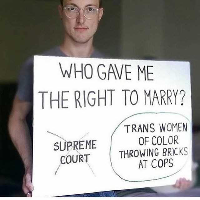Forehead - WHO GAVE ME THE RIGHT TO MARRY? SUPREME COURT TRANS WOMEN OF COLOR THROWING BRICKS AT COPS