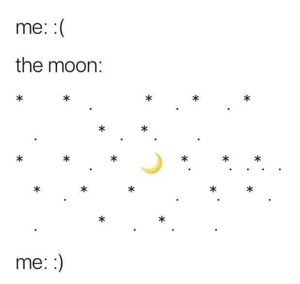 Text - me: :( the moon: * * * * * me: :)