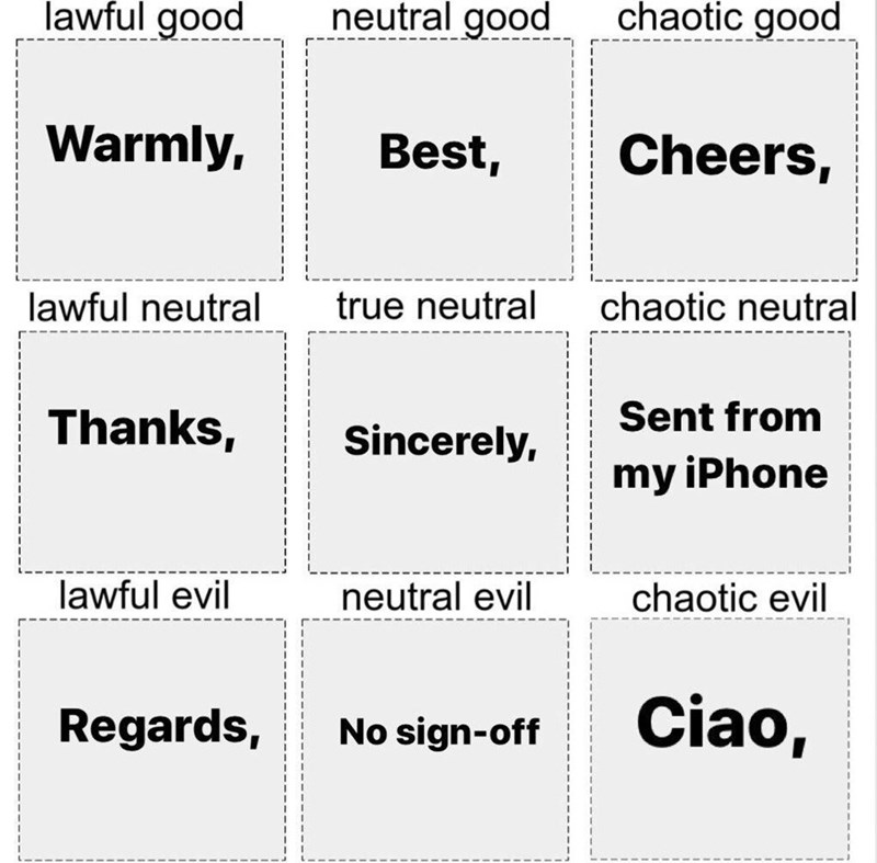 Text - lawful good neutral good chaotic good Warmly, Best, Cheers, lawful neutral true neutral chaotic neutral Thanks, Sincerely, Sent from my iPhone lawful evil neutral evil chaotic evil Regards, No sign-off Ciao,