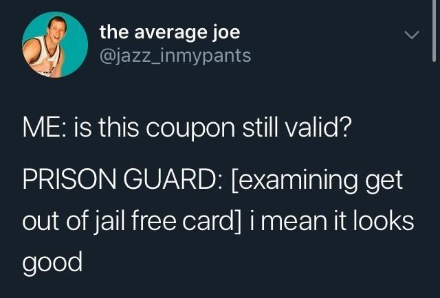 Text - the average joe @jazz_inmypants ME: is this coupon still valid? PRISON GUARD: [examining get out of jail free card] i mean it looks good >