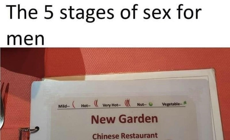 Text - The 5 stages of sex for men Mild-- Hot- Very Hot- Nut-- O Vegetable-- New Garden Chinese Restaurant