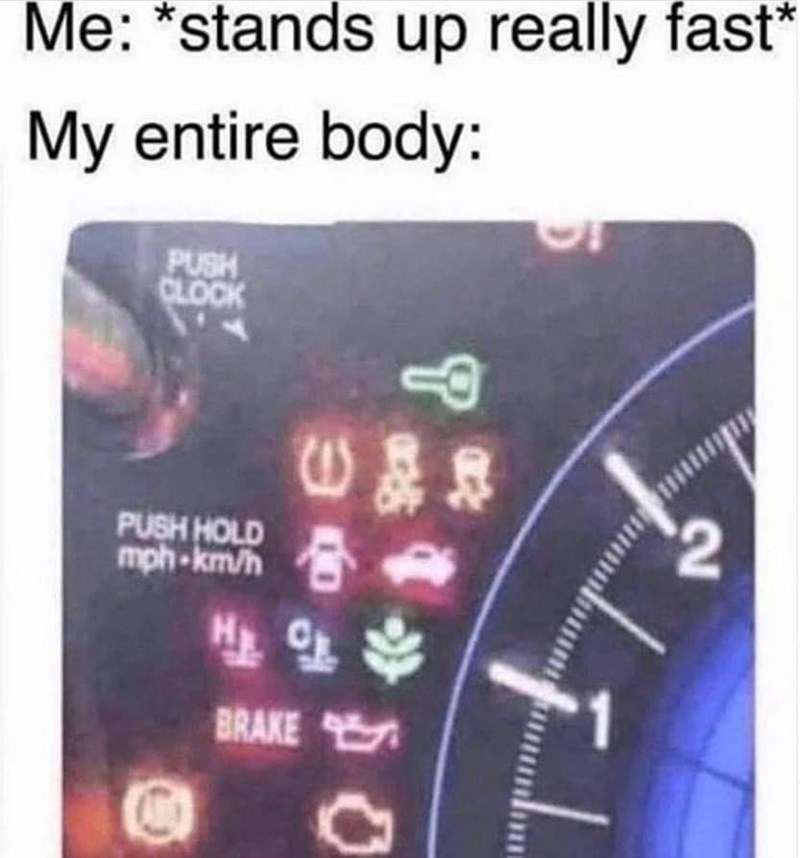 Text - Me: *stands up really fast* My entire body: PUSH CLOCK PUSH HOLD mph-km/h 合 BRAKE