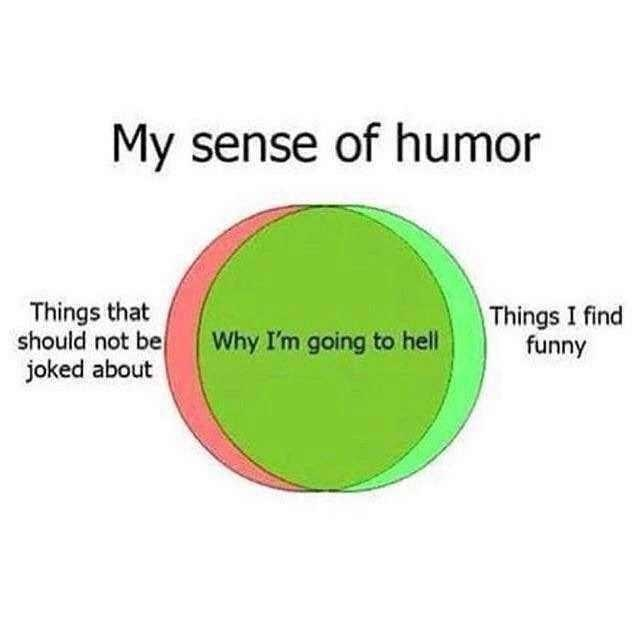 Green - My sense of humor Things that should not be joked about Things I find funny Why I'm going to hell