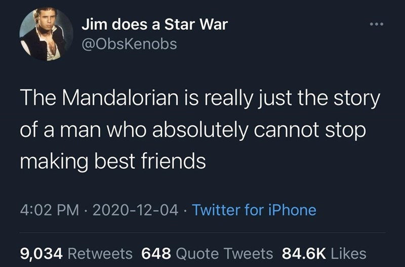 Text - Jim does a Star War @ObsKenobs The Mandalorian is really just the story of a man who absolutely cannot stop making best friends 4:02 PM · 2020-12-04 · Twitter for iPhone 9,034 Retweets 648 Quote Tweets 84.6K Likes