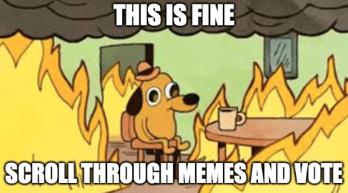 Vote for the 2020 meme of the year, bad year, worst year, best 2020 meme of the year | this is fine