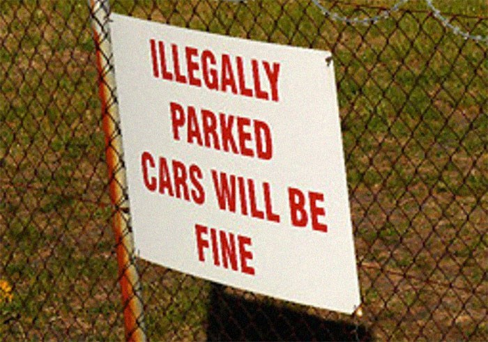 Wire fencing - ILLEGALLY PARKED CARS WILL BE FINE