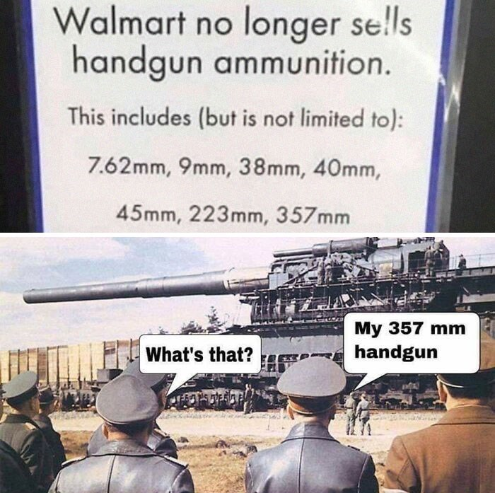 Transport - Walmart no longer se!ls handgun ammunition. This includes (but is not limited to): 7.62mm, 9mm, 38mm, 40mm, 45mm, 223mm, 357mm My 357 mm What's that? handgun