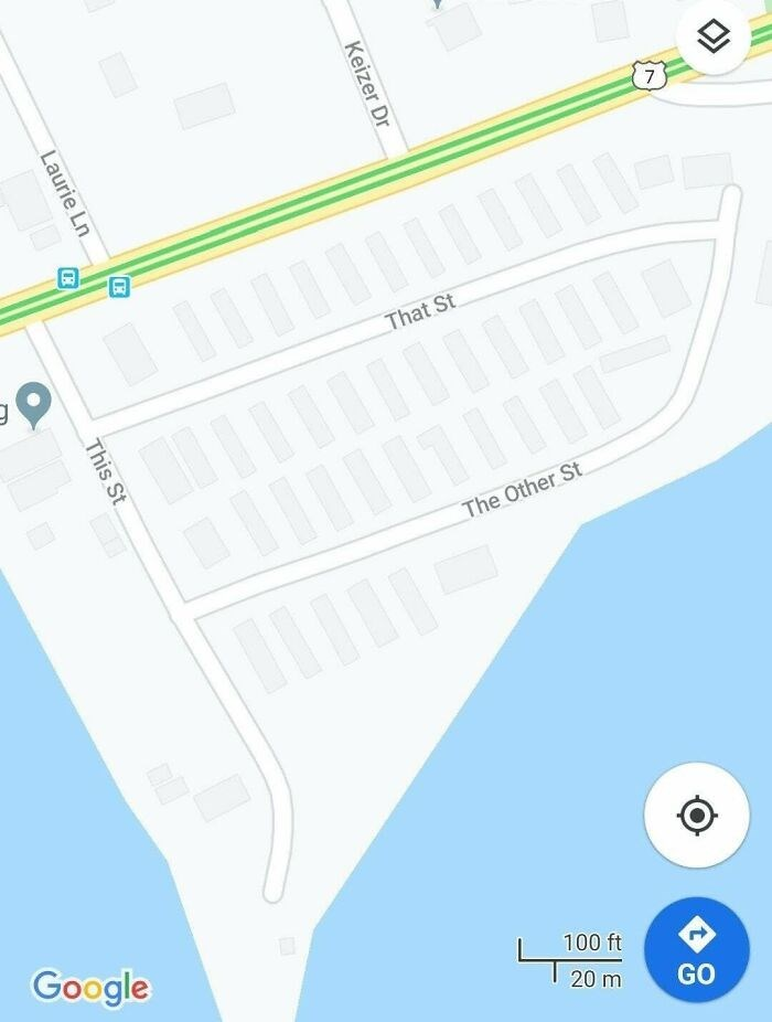 Blue - 7 That St The Other St. Google 100 ft 20 m GO Keizer Dr Laurie Ln This St