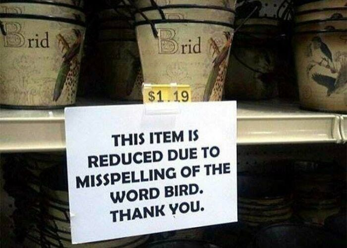 Text - rid Brid $1.19 THIS ITEM IS REDUCED DUE TO MISSPELLING OF THE WORD BIRD. THANK YOU.