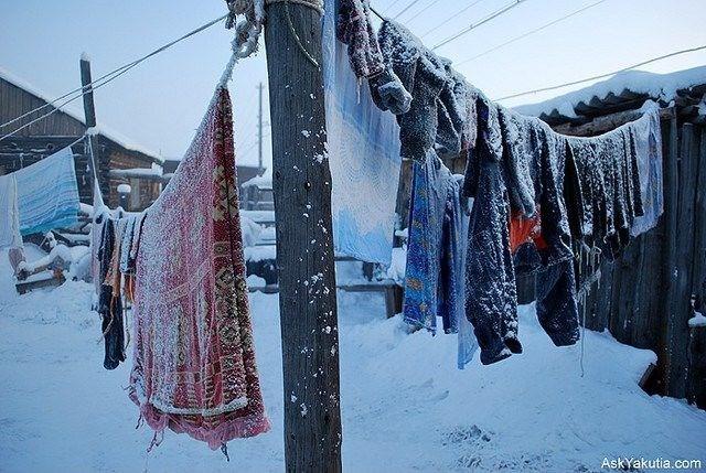 photo frozen laundry hanging outside snow freezing oymyakon
