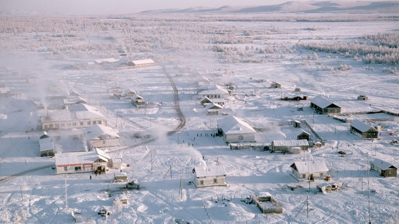 photo oymyakon coldest inhabited town on earth aerial view snow houses