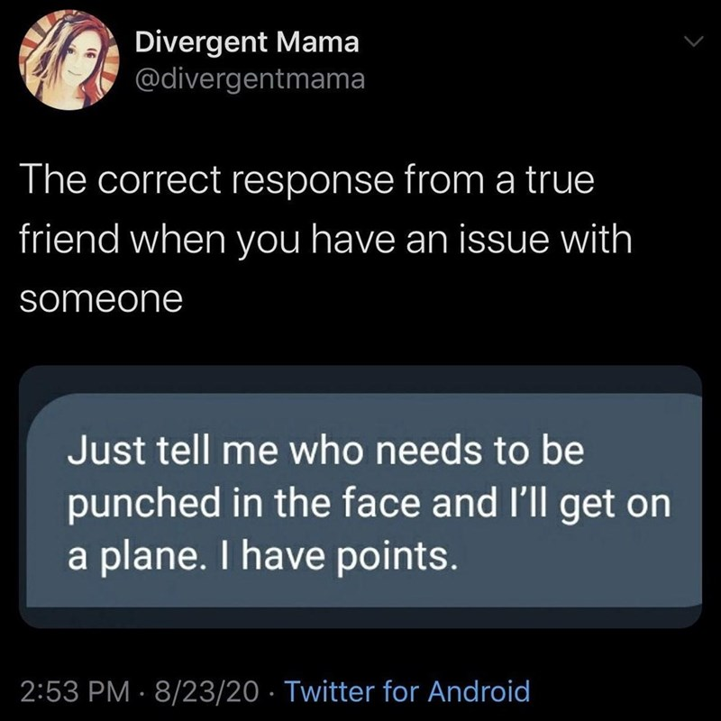 Text - Divergent Mama @divergentmama The correct response from a true friend when you have an issue with someone Just tell me who needs to be punched in the face and l'll get on a plane. I have points. 2:53 PM · 8/23/20 · Twitter for Android