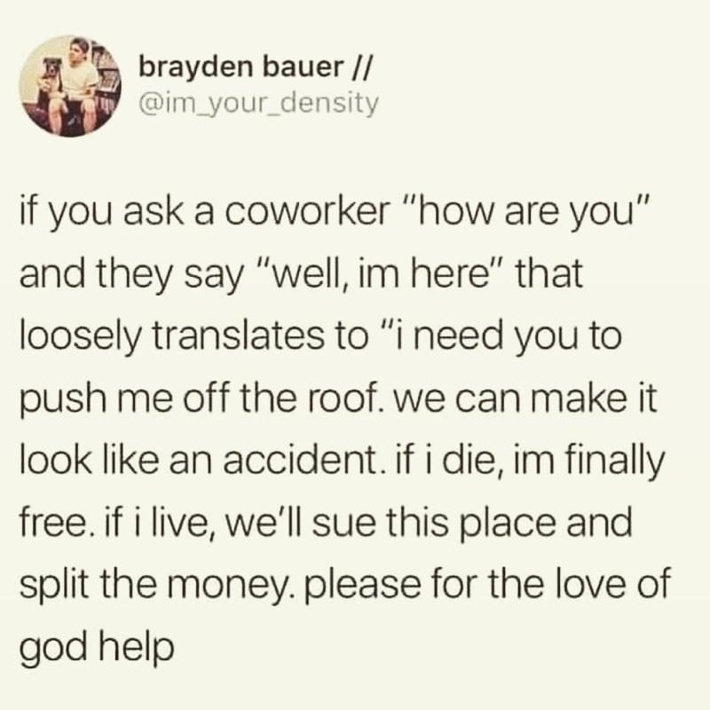 """Text - brayden bauer  / @im_your_density if you ask a coworker """"how are you"""" and they say """"well, im here"""" that loosely translates to """"i need you to push me off the roof. we can make it look like an accident. if i die, im finally free. if i live, we'll sue this place and split the money. please for the love of god help"""