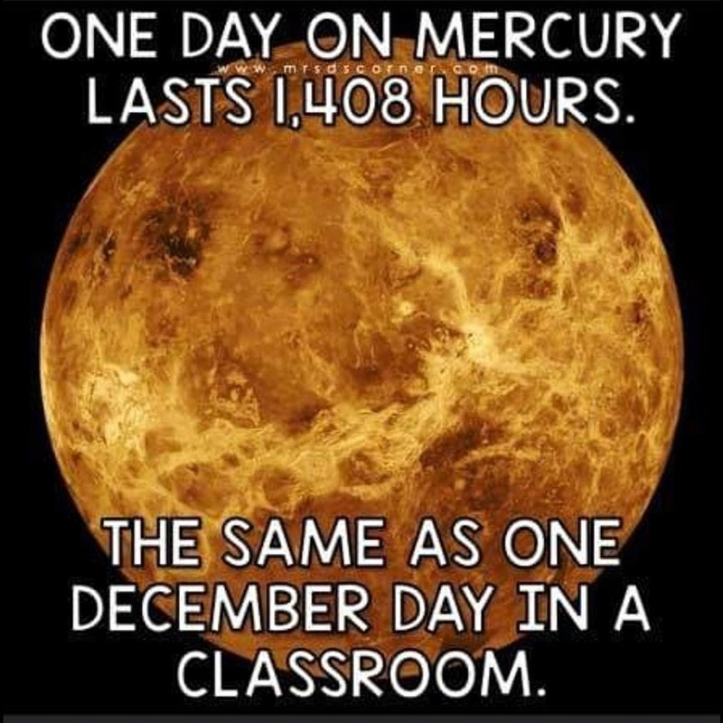 Text - ONE DAY ON MERCURY mrsdsc LASTS I,408 HOURS. THE SAME AS ONE DECEMBER DAY IN A CLASSROOM.