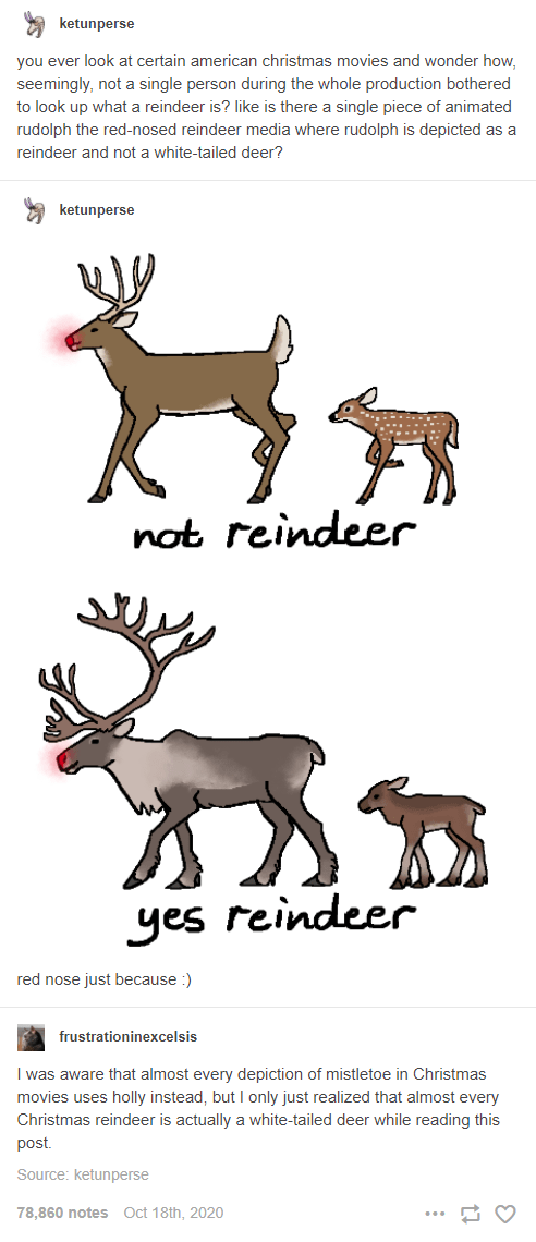 Organism - ketunperse you ever look at certain american christmas movies and wonder how, seemingly, not a single person during the whole production bothered to look up what a reindeer is? like is there a single piece of animated rudolph the red-nosed reindeer media where rudolph is depicted as a reindeer and not a white-tailed deer? ketunperse not reindeer yes reindeer red nose just because :) frustrationinexcelsis I was aware that almost every depiction of mistletoe in Christmas movies uses hol