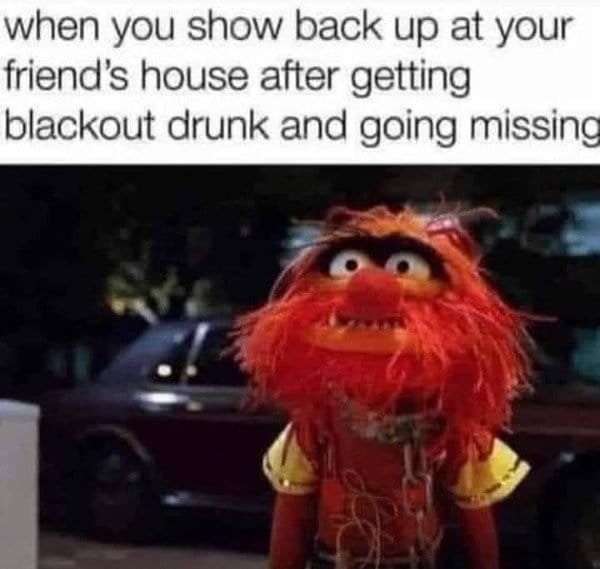 Text - when you show back up at your friend's house after getting blackout drunk and going missing