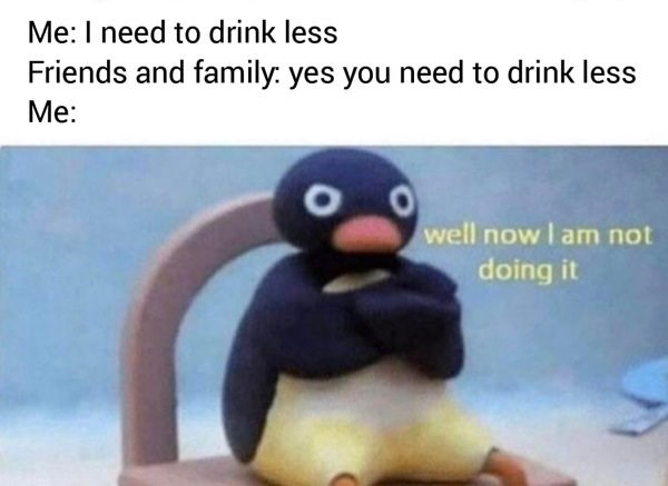 Beak - Me: I need to drink less Friends and family: yes you need to drink less Me: well now I am not doing it