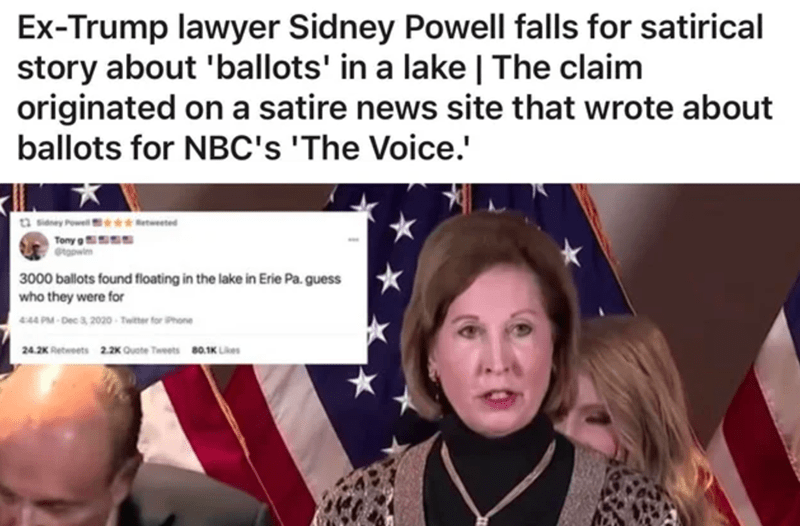 Nose - Ex-Trump lawyer Sidney Powell falls for satirical story about 'ballots' in a lake   The claim originated on a satire news site that wrote about ballots for NBC's 'The Voice.' a sieney Powel *etweeted Tony g 3000 ballots found floating in the lake in Erie Pa. guess who they were for 444 PM - Dec 3, 2020 - Twitter for Phone 24.2K Retweets 2.2K Quote Tweets 80.1K Likes