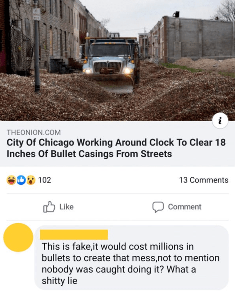 Transport - i THEONION.COM City Of Chicago Working Around Clock To Clear 18 Inches Of Bullet Casings From Streets 102 13 Comments O Like Comment This is fake,it would cost millions in bullets to create that mess,not to mention nobody was caught doing it? What a shitty lie