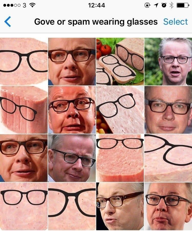 Eyewear - 3 12:44 Gove or spam wearing glasses Select