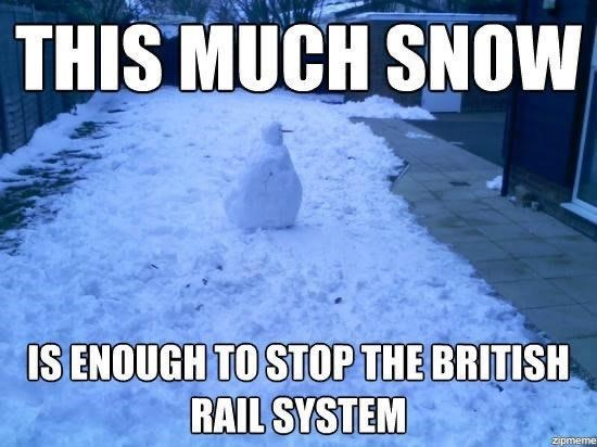 Winter - THIS MUCH SNOW IS ENOUGH TO STOP THE BRITISH RAIL SYSTEM zipmeme