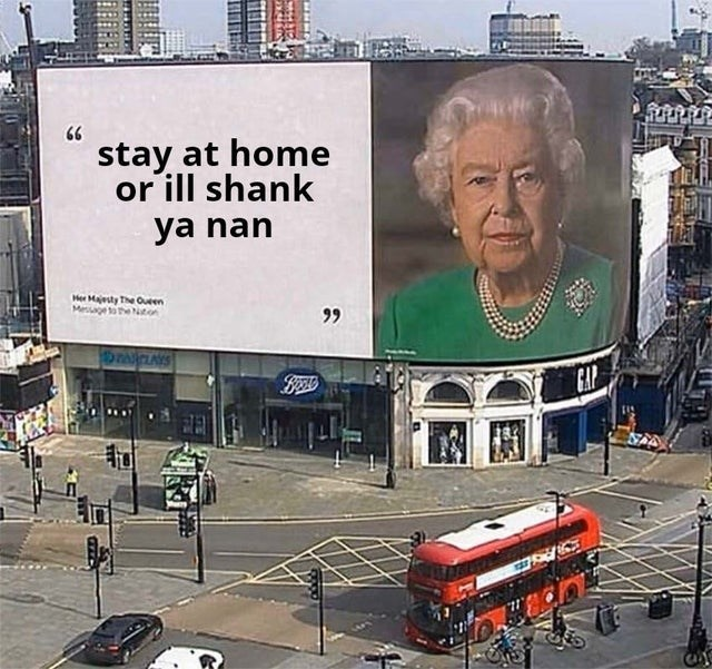 Mode of transport - 66 stay at home or ill shank ya nan Her Majesty The Oueen Mesgetothe ton 99 CAP