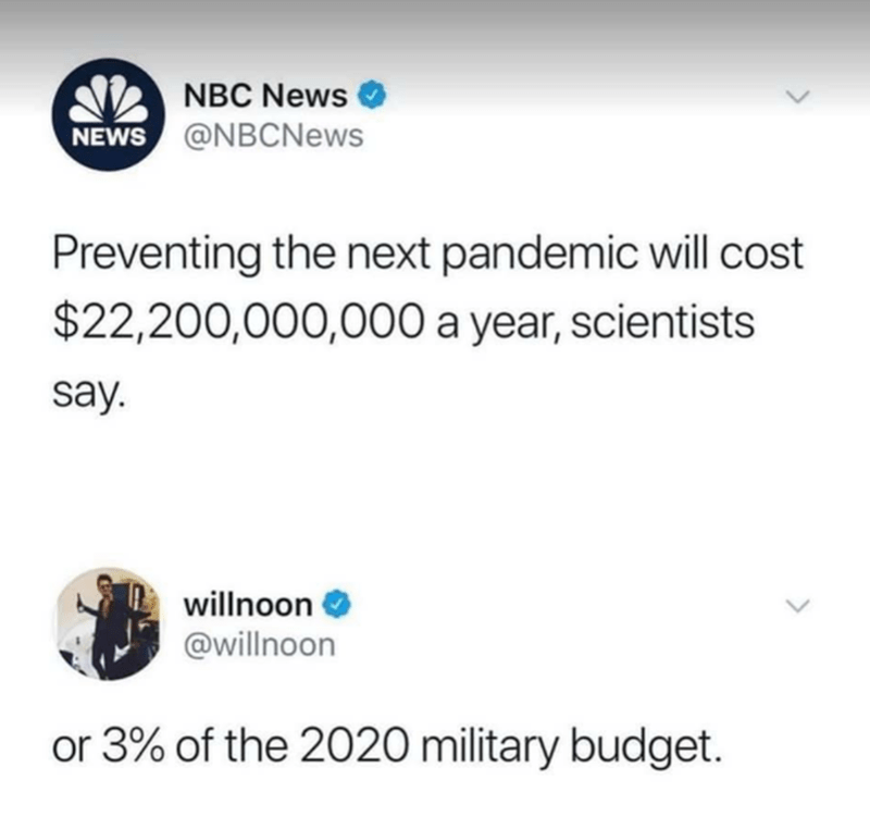 Text - A NBC News O NEWS @NBCNews Preventing the next pandemic will cost $22,200,000,000 a year, scientists say. willnoon @willnoon or 3% of the 2020 military budget.