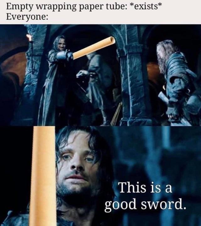 Photo caption - Empty wrapping paper tube: *exists* Everyone: This is a good sword.