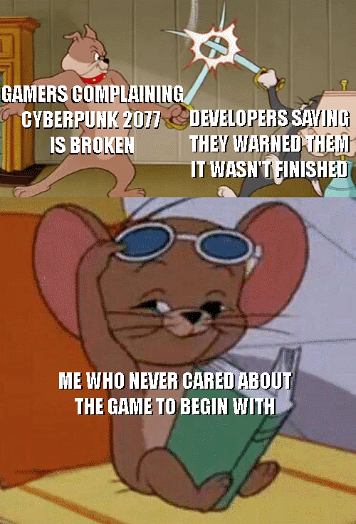 Animation - GAMERS GOMPLAINING CYBERPUHK 2077 DEVELOPERS SAYING IS BROKEN THEY WARNED THEM IT WASH'T FINISHED ME WHO HEVER CARED ABOUT THE GAME TO BEGIN WITH