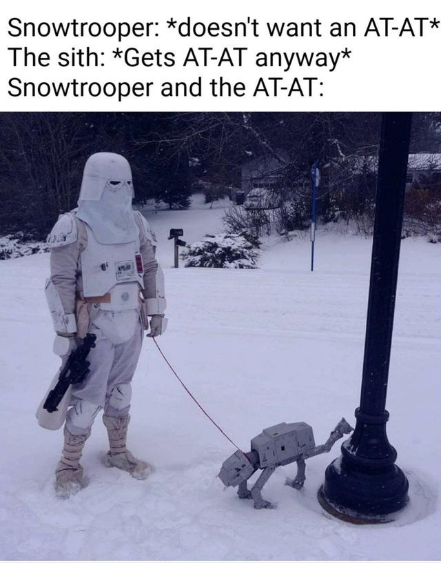 Winter - Snowtrooper: *doesn't want an AT-AT* The sith: *Gets AT-AT anyway* Snowtrooper and the AT-AT: