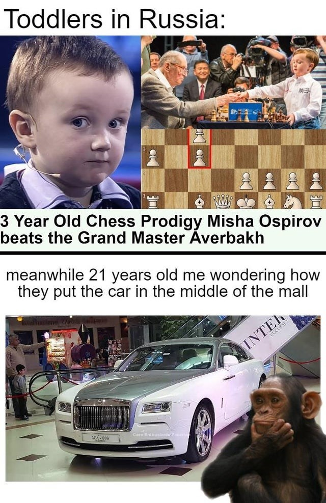 Motor vehicle - Toddlers in Russia: 3 Year Old Chess Prodigy Misha Ospirov beats the Grand Master Averbakh meanwhile 21 years old me wondering how they put the car in the middle of the mall VOLUME T INTER ACA -B88