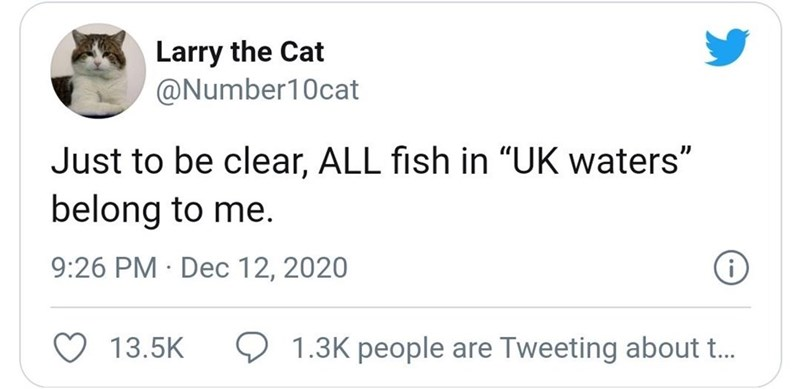 "Text - Larry the Cat @Number10cat Just to be clear, ALL fish in ""UK waters"" belong to me. 9:26 PM · Dec 12, 2020 13.5K 1.3K people are Tweeting about t."