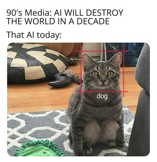 Funny meme about how in the 90s people predicted that AI would rule the world, now it just fails and recognizes cats as dogs
