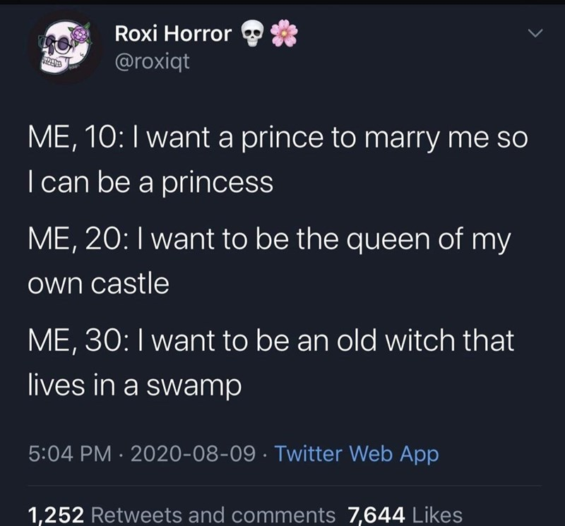 Text - Roxi Horror @roxiqt ME, 10:I want a prince to marry me so | can be a princess ME, 20: I want to be the queen of my own castle ME, 30:I want to be an old witch that lives in a swamp 5:04 PM · 2020-08-09 · Twitter Web App 1,252 Retweets and comments 7,644 Likes