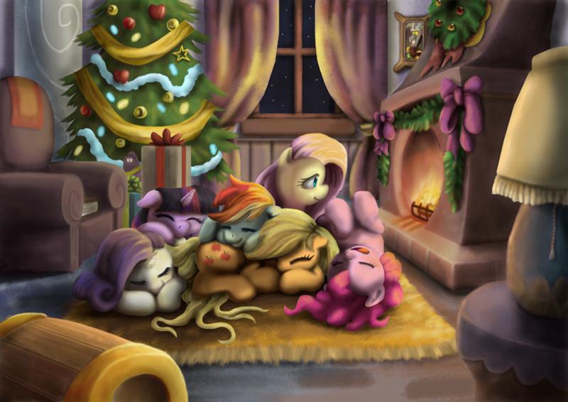 tarkron christmas applejack twilight sparkle pinkie pie rarity fluttershy rainbow dash - 9581692416