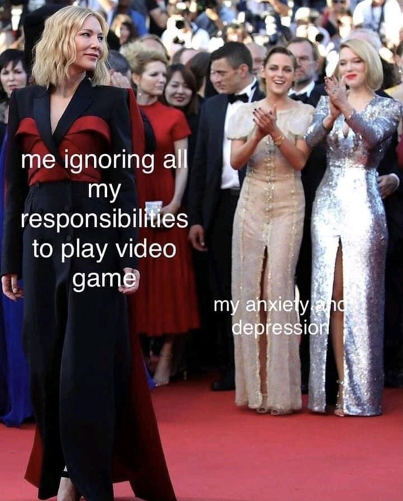 Clothing - me ignoring all my responsibilities to play video game my ahxietynd depřession